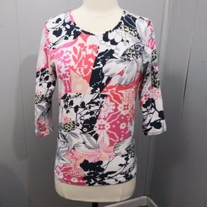 3/$20 Christopher & Banks Floral Crew Neck Top